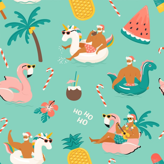Tropical Hot Christmas. Wzór. Premium Wektorów