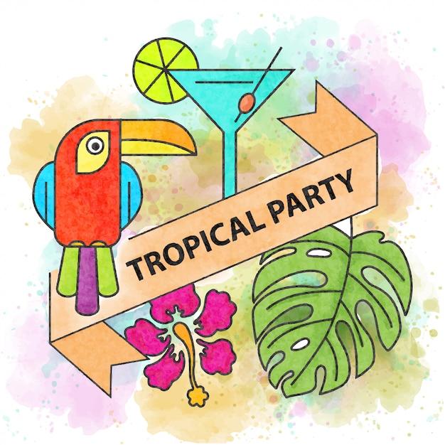 Tropikalna Impreza. Plakat Akwarela Lato Premium Wektorów