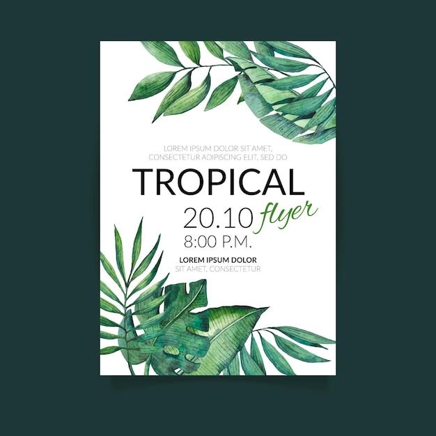 Tropikalna Przyroda Z Egzotycznymi Liśćmi Ulotki Darmowych Wektorów