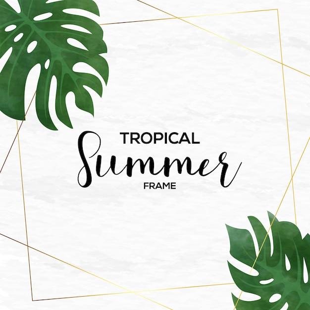 Tropikalna rama lato w stylu przypominającym akwarele Premium Wektorów
