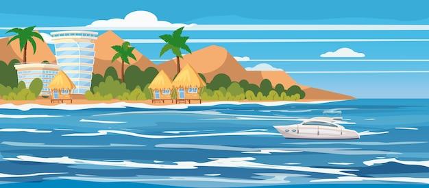 Tropikalna wyspa, hotele, bungalowy, wakacje, podróże, relaks, łódź wycieczkowa, pejzaż morski Premium Wektorów
