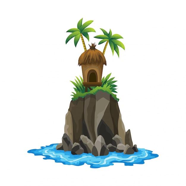 Tropikalna Wyspa. Tropikalne Wybrzeże Z Palmami I Falami Morskimi. Bungalow Na Wyspie. Wypoczynek W Ośrodku Premium Wektorów