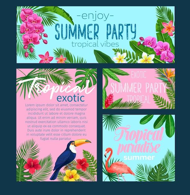 Tropikalne Banery. Tło Lato Kwiatowy Dżungli Z Ptakami Różowy Flaming I Tukan Premium Wektorów