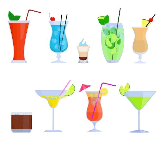 Tropikalne Koktajle, Soki, Szklanki Do Napojów. Koktajle Alkoholowe Bloody Mary, Mojito, Pina Colada Premium Wektorów
