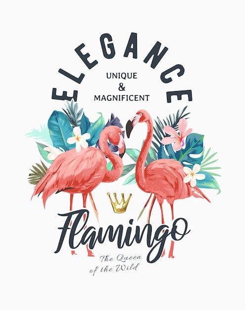 Tropikalne Kwiaty I Flamingo Ilustracja Lato Premium Wektorów