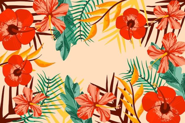 Tropikalne Kwiaty Powiększać Tło Darmowych Wektorów