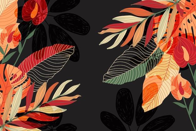 Tropikalne Kwiaty Tło Dla Powiększenia Darmowych Wektorów
