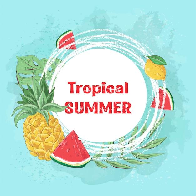 Tropikalne lato z lodami koktajlowymi i owocami tropikalnymi. ilustracji wektorowych Premium Wektorów