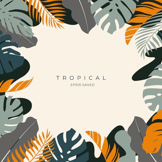 Tropikalne Liście I Kolorowe Tło Lato Premium Wektorów