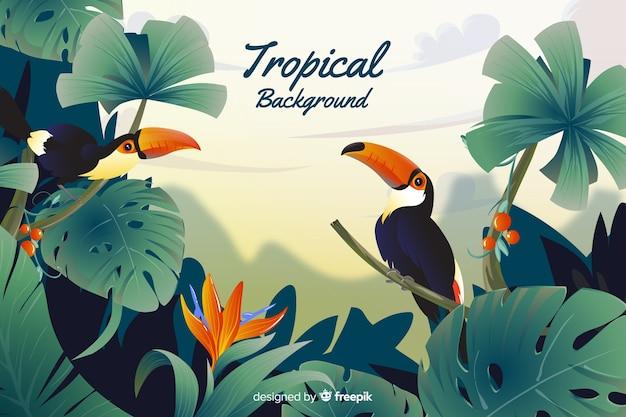 Tropikalne liście i tucans tło Darmowych Wektorów