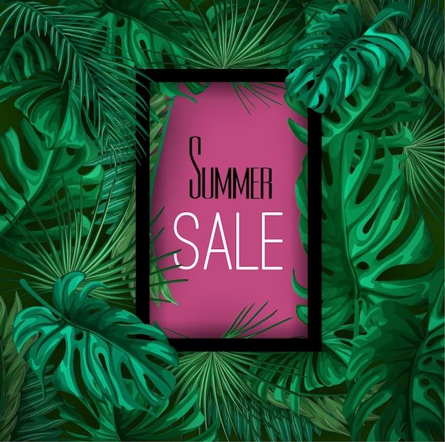Tropikalne Liście Lato Sprzedaż Transparent Tło Plakatu Szablon. Premium Wektorów
