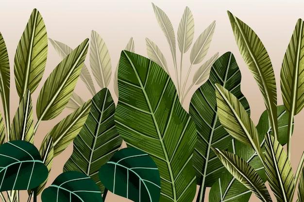 Tropikalne Liście Mural W Tle Darmowych Wektorów