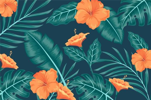 Tropikalne Liście Tło Do Powiększenia Darmowych Wektorów