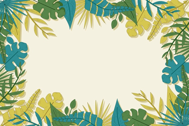 Tropikalne Liście Tło Darmowych Wektorów