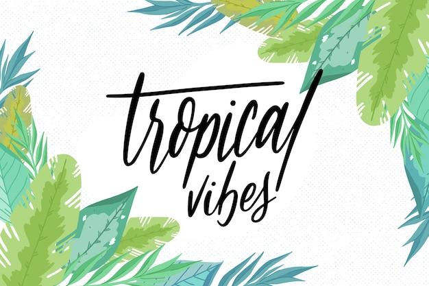 Tropikalne Liście Wibrują Napis Darmowych Wektorów