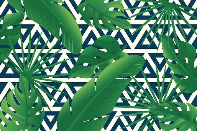 Tropikalne Liście Z Geometrycznym Tłem Darmowych Wektorów