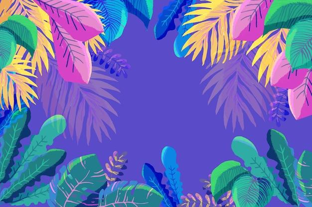 Tropikalni Kolorowi Liście Z Kopii Przestrzenią Darmowych Wektorów