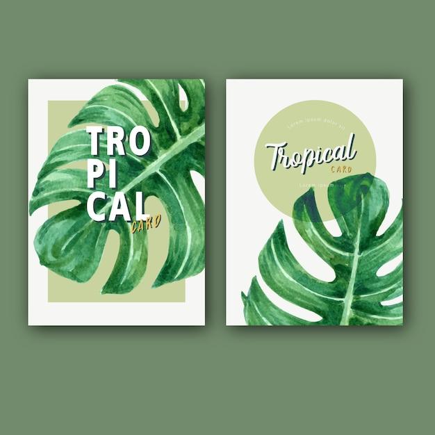 Tropikalny karciany zaproszenia lato z rośliny ulistnieniem egzotycznym, kreatywnie akwarela Darmowych Wektorów