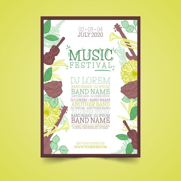 Tropikalny kolorowy plakat muzyczny Darmowych Wektorów