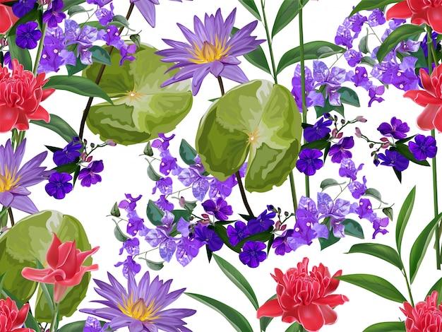Tropikalny kwiatowy wzór Premium Wektorów