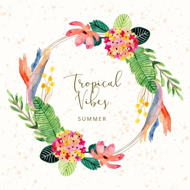 Tropikalny Letni Akwarela Wieniec Kwiatowy Premium Wektorów