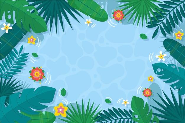 Tropikalny Liścia Tło Z Wodą I Kwiatami Darmowych Wektorów