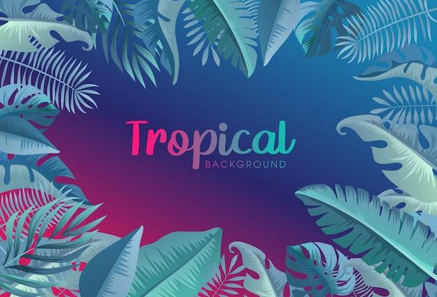 Tropikalny Modny Neon Tło Premium Wektorów