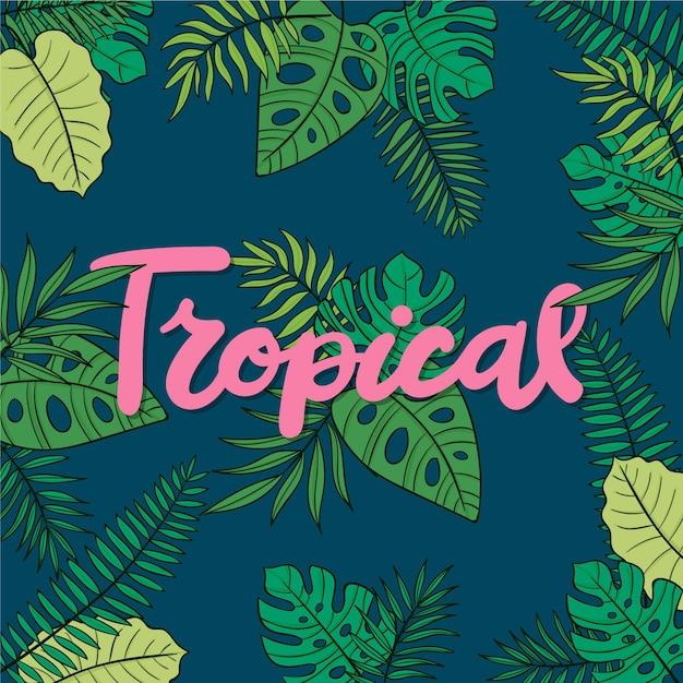 Tropikalny Napis Z Liści I Kwiatów Darmowych Wektorów