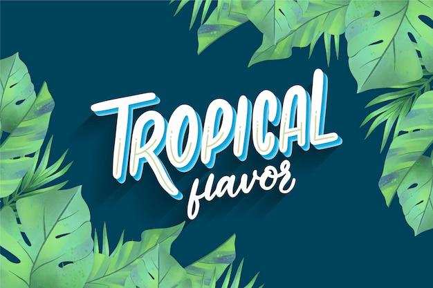 Tropikalny Napis Z Liśćmi Darmowych Wektorów