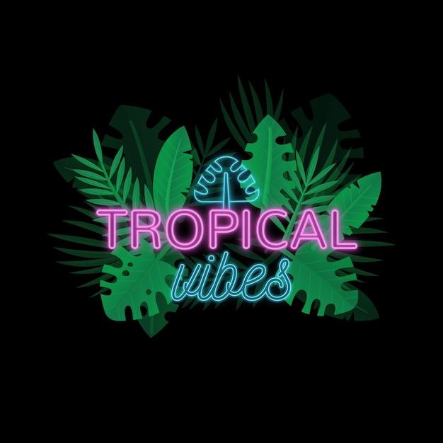 Tropikalny Neon Z Liści Lub Kwiatów Darmowych Wektorów