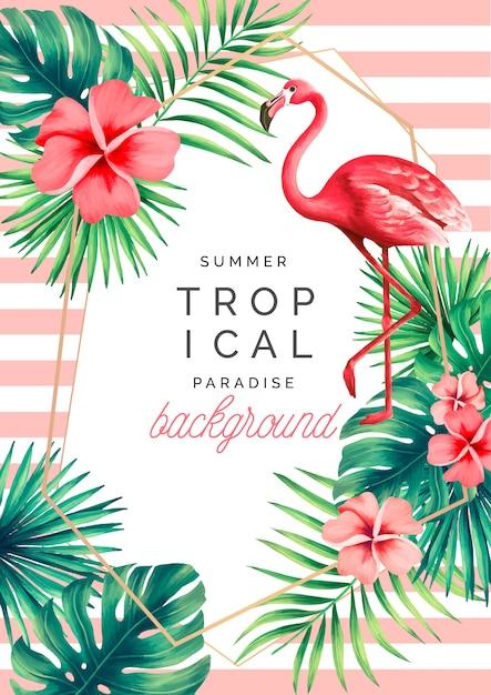 Tropikalny raju tło z egzotyczną naturą i flamingiem Darmowych Wektorów
