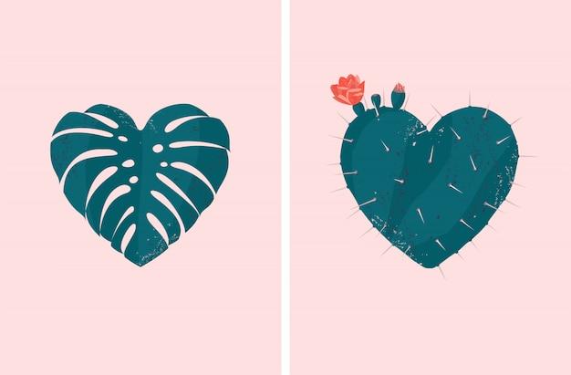 Tropikalny Roślina W Kształcie Serca Wektor Zestaw Liści Monstera I Kwitnący Kaktus Premium Wektorów