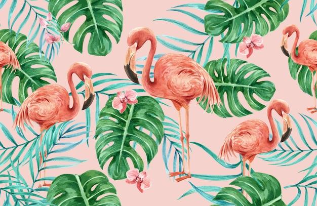 Tropikalny wzór kwiat akwarela, dzięki karty, ilustracja drukowania tkanin Darmowych Wektorów