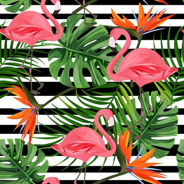 Tropikalny wzór z flamingo, liść monstera, kwiat rajskiego ptaka. Premium Wektorów