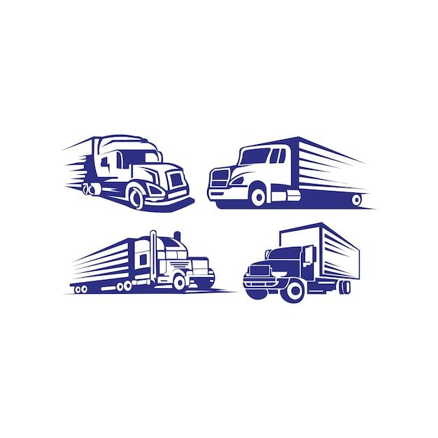 Truck trailer logo transport - inspiracja samochód dostawczy Premium Wektorów