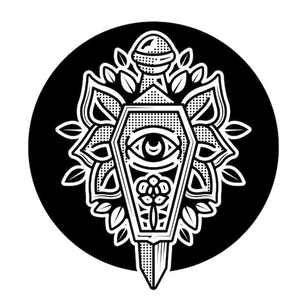 Trumna I Sztylet Czarny Wzór Tatuażu Premium Wektorów