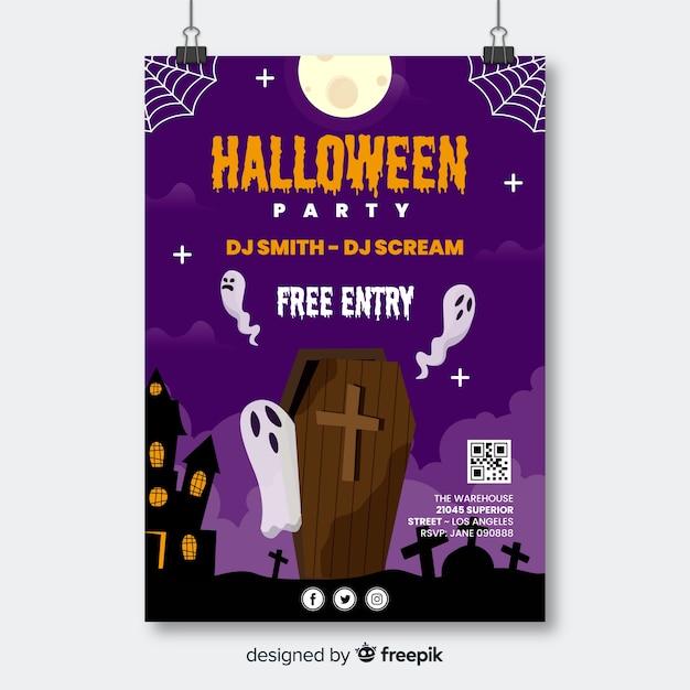 Trumna Z Duchami Halloween Party Ulotki Darmowych Wektorów