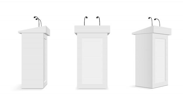 Trybun na podium z mikrofonami, trybunami. Premium Wektorów