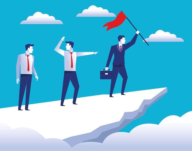 Trzech Eleganckich Pracowników Biznesmenów W Szczycie Góry Z Ilustracją Flagi Sukcesu Premium Wektorów
