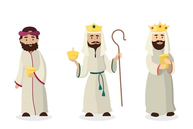 Trzech Króli Mędrców. Wigilia Urodzin Jezusa Chrystusa. Premium Wektorów