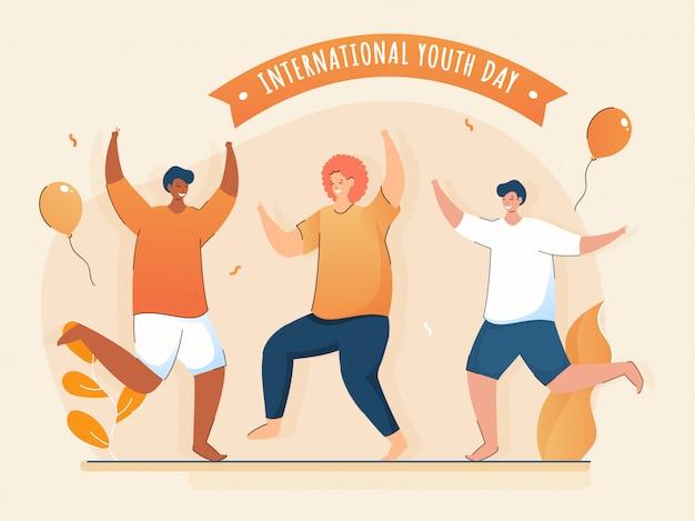Trzech Młodych Chłopców Tańczy Razem Z Latającymi Balonami I Liśćmi Na Brzoskwiniowym Tle Podczas Obchodów Międzynarodowego Dnia Młodzieży. Premium Wektorów