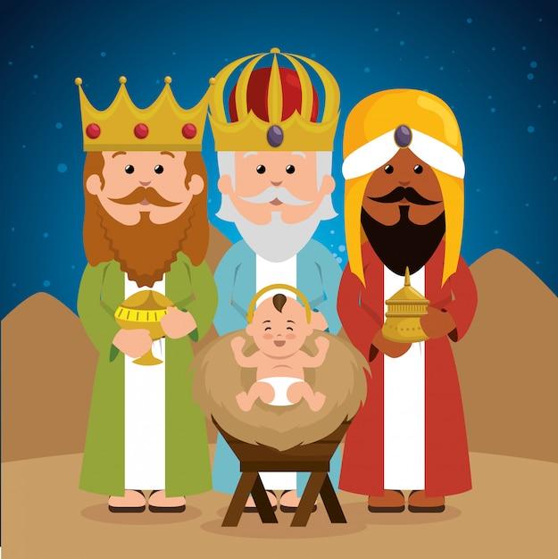 Trzej mądrzy królowie dziecko jezus żłób Darmowych Wektorów