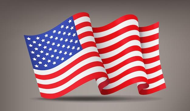 Trzepotanie, Machając Realistyczne Amerykańską Flagę, Symbol Narodowy Premium Wektorów
