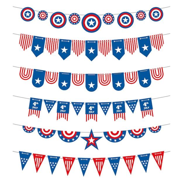 Trznadel patriotyczne flagi amerykańskie girlandy na dzień niepodległości usa 4 lipca i wybory prezydenckie. Premium Wektorów