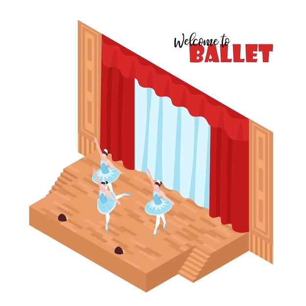 Trzy Baleriny Wykonuje Na Teatr Scenie 3d Isometric Darmowych Wektorów