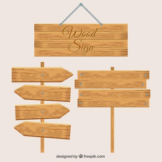 Trzy Drewniane Znaki Darmowych Wektorów