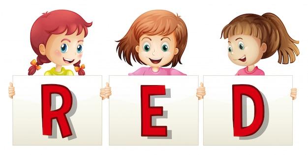Trzy Dziewczyny Trzyma Znaka Dla Słowo Czerwieni Darmowych Wektorów