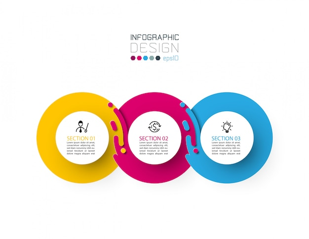 Trzy Harmonijne Koło Infografiki. Premium Wektorów