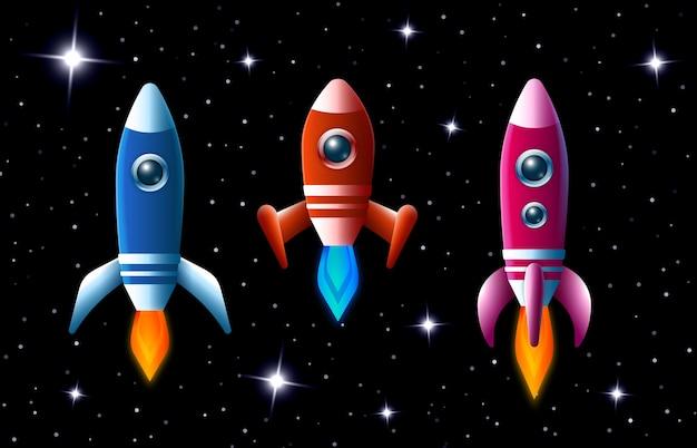 Trzy Jaskrawo Kolorowe Rakiety Wektorowe W Przestrzeni Kosmicznej Z Turbodoładowaniem I Płomieniami, Gdy Pędzą Przez Ciemne Rozgwieżdżone Niebo Zestaw Trzech Różnych Statków Kosmicznych Dla Dzieci Darmowych Wektorów