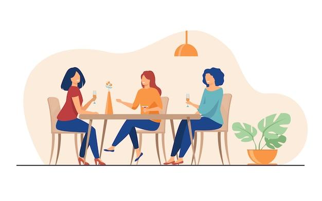 Trzy Koleżanki Siedzi W Kawiarni Na Lunch I Rozmawia Darmowych Wektorów
